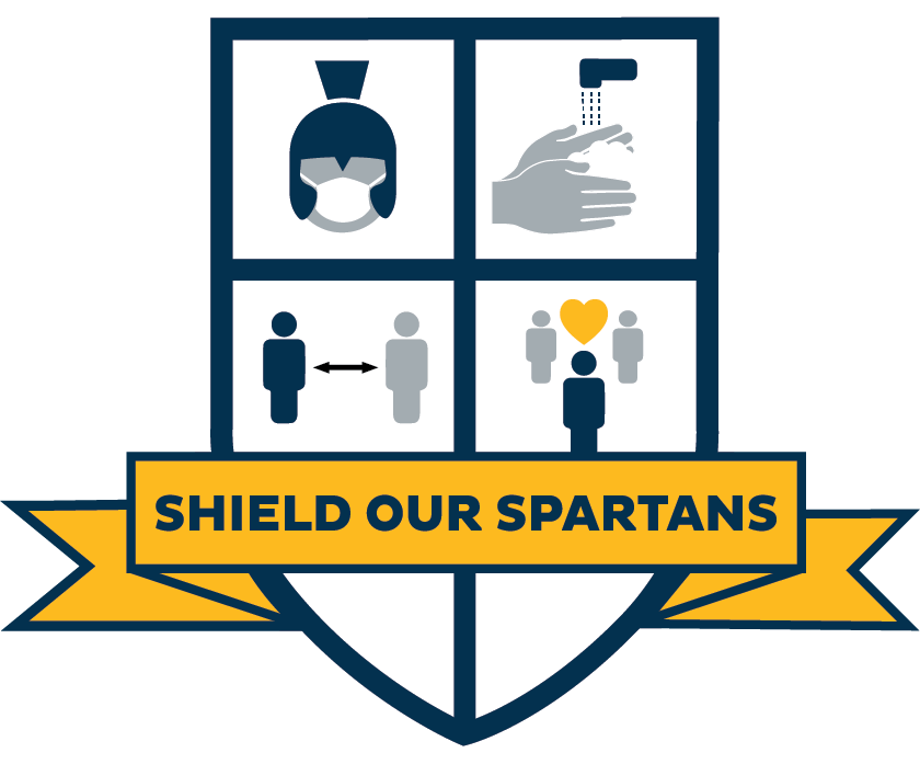 shield icon with helmet, hands washing, people standing apart, and a label that says shield our spartans